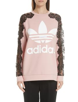 Lace Inset Adidas Logo Sweatshirt by Stella Mccartney