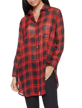 Sheer Plaid Tunic Shirt by Rainbow