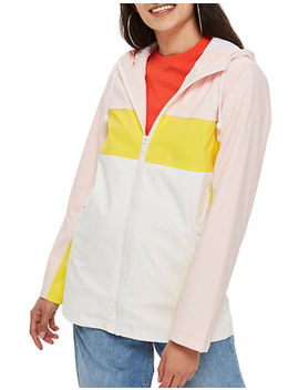 Colour Block Rain Mac Coat by Topshop