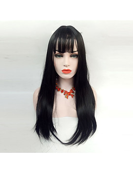 Synthetic Wig Straight Layered Haircut Synthetic Hair 24 Inch Heat Resistant / With Bangs Black Wig Women's Long Capless / Yes  #06855386 by Lightinthebox