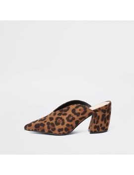 Brown Leopard Print Curve Heel Mules by River Island