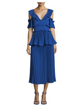Pleated Frills Midi Cocktail Dress by Neiman Marcus