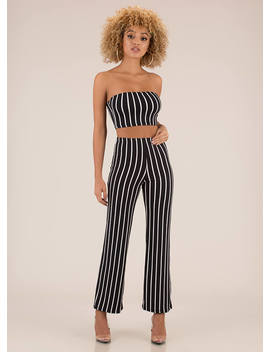 Perfect Pinstripes Top And Pant Set by Go Jane