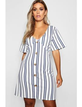Plus Stripe Horn Button Detail Shift Dress by Boohoo