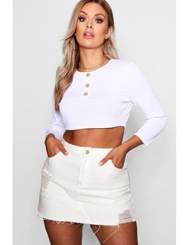 Plus Horn Button Rib Crop Top by Boohoo