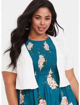 White Pointelle Knit Shrug by Torrid