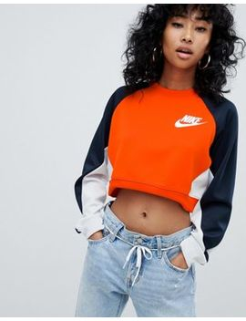 Nike Polyknit Sweatshirt In Orange Colour Block by Nike