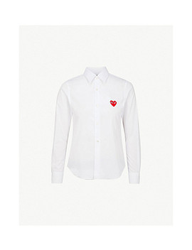 Heart Embroidered Cotton Shirt by Comme Des Garcons Play