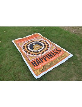 Happiness Buddha Tapestry Thousands Of Candles Poster Art Print Cotton Hippy Indian Mandala Wall Hanging Bohemian Throw Decor Bedspread Tapestries Meditation And Lotus Tapestries Good Luck (#1) by World Wide Kart