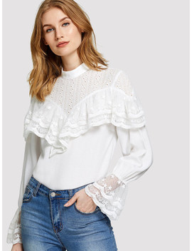 Shein Eyelet Embroidery Yoke Lace Embellished Blouse by Shein