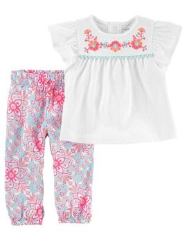 2 Piece Embroidered Flutter Sleeve Top & Floral Poplin Pantt Set by Oshkosh