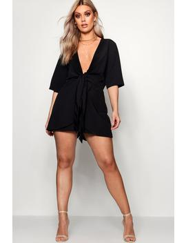 Plus Knot Front Plunge Playsuit by Boohoo