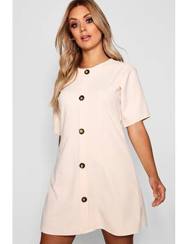 Plus Crepe Horn Button Puff Sleeve Shift Dress by Boohoo
