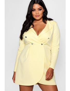 Plus Scuba Button Detail Blazer Dress by Boohoo