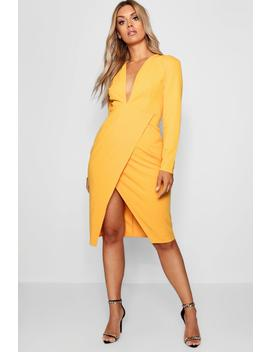 Plus Plunge Wrap Midi Dress by Boohoo