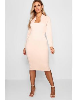 Plus Plunge High Collar Midi Dress by Boohoo