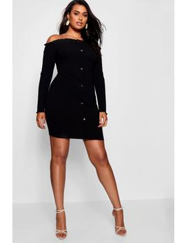 Plus Horn Button Up Ribbed Dress by Boohoo