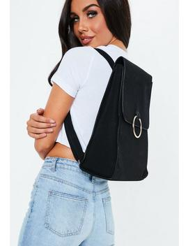 Black Ring Detail Backpack by Missguided