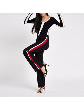 Black Stripe Side Wide Leg Joggers by River Island