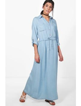 Katie Maxi Denim Shirt Dress by Boohoo