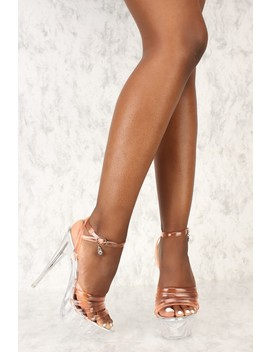 Pink Clear Strappy Open Toe Platform Pump High Heels Faux Leather by Ami Clubwear