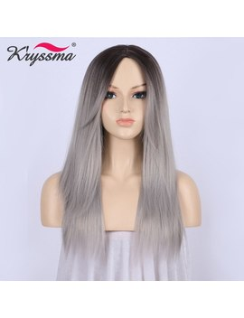 Ombre Wig Dark Roots To Silver Grey Wig Long Straight Synthetic Hair Wigs For Women With Bangs Glueless Heat Resistant Fiber by Kryssma