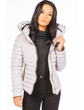 Gabriella Grey Padded Faux Fur Coat by Misspap