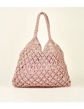 Mid Pink Crochet Tote Bag by New Look