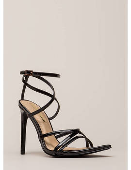 All Straps Pointy Faux Patent Heels by Go Jane