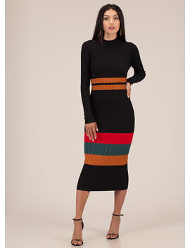 Seductive Stripes Rib Knit Midi Dress by Go Jane