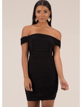 Ruched And Ready Off Shoulder Minidress by Go Jane
