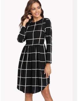 Smock Waist Curved Hem Grid Dress by Shein