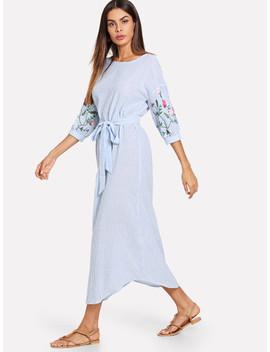 Drop Shoulder Curved Hem Belted Striped Dress by Shein