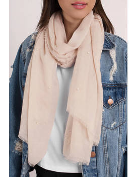 Last Confession Beige Pearl Embellished Scarf by Tobi