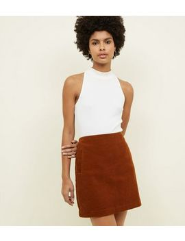 Dark Brown Corduroy Mini Skirt by New Look