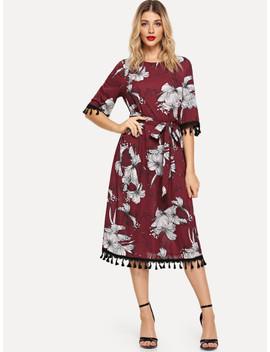 Tassel Detail Self Belted Floral Dress by Shein