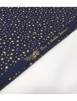 Navy Gold Fabric, Christmas Print, Star Fabric, 100 Percents Woven Cotton Christmas Star Fabric by Studiojepson