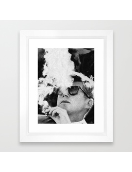 John F Kennedy Cigar And Sunglasses Black And White Framed Art Print by