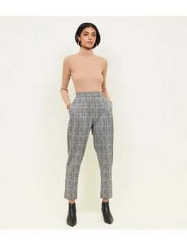 Black Check Jersey High Waist Tapered Trousers by New Look