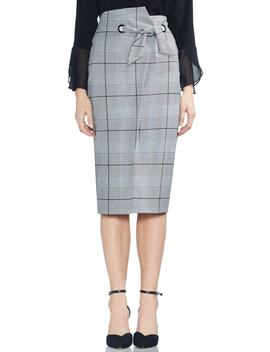 High Waist Glen Plaid Pencil Skirt by Vince Camuto
