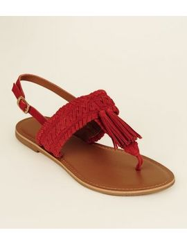 Wide Fit Red Suede Tassel Woven Strap Sandals by New Look