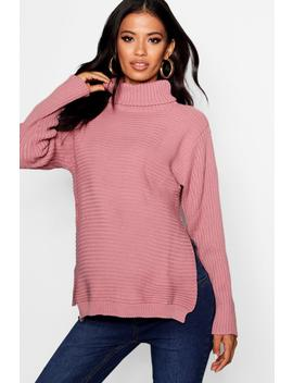 Maternity Roll Neck Jumper With Side Split by Boohoo