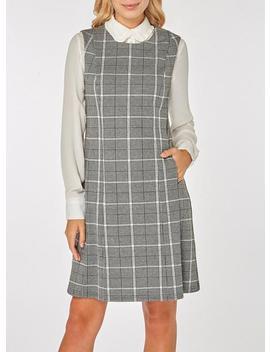Grey Checked Sleeveless Shift Dress by Dorothy Perkins
