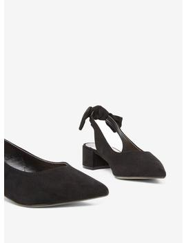 Wide Fit Black 'Gossip' Bow Slingback Court Shoes by Dorothy Perkins