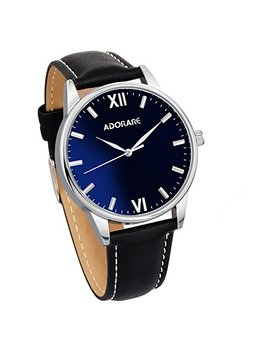 Adorare Men's Wrist Watch Business Casual Classic Leather Band Waterproof Analog Quartz Watches For Men by Adorare