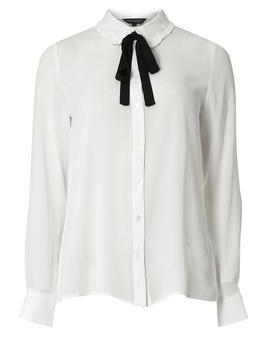 Ivory Frilled Bow Tie Shirt by Dorothy Perkins