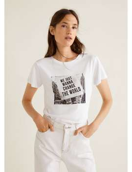 Photo Print T Shirt by Mango