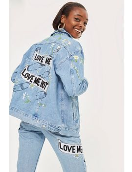 'love Me Not' Embroidered Denim Jacket by Topshop