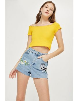 'love Me Not' Embroidered Mom Shorts by Topshop