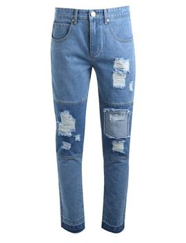 Slim Fit Cut And Sew Cropped Panelled Jeans by Boohoo